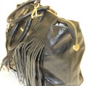 Innue Glazed Nero Black Leather Fringe Trim Bag